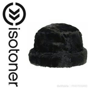 Isotoner Black Faux Fur Cloche Hat